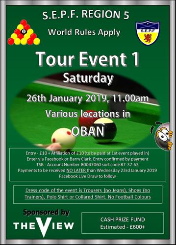 Scottish Eightball Pool Federation - Regional Tour | The View Oban